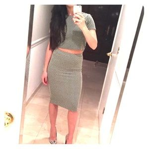 Checkered Crop top pencil skirt set